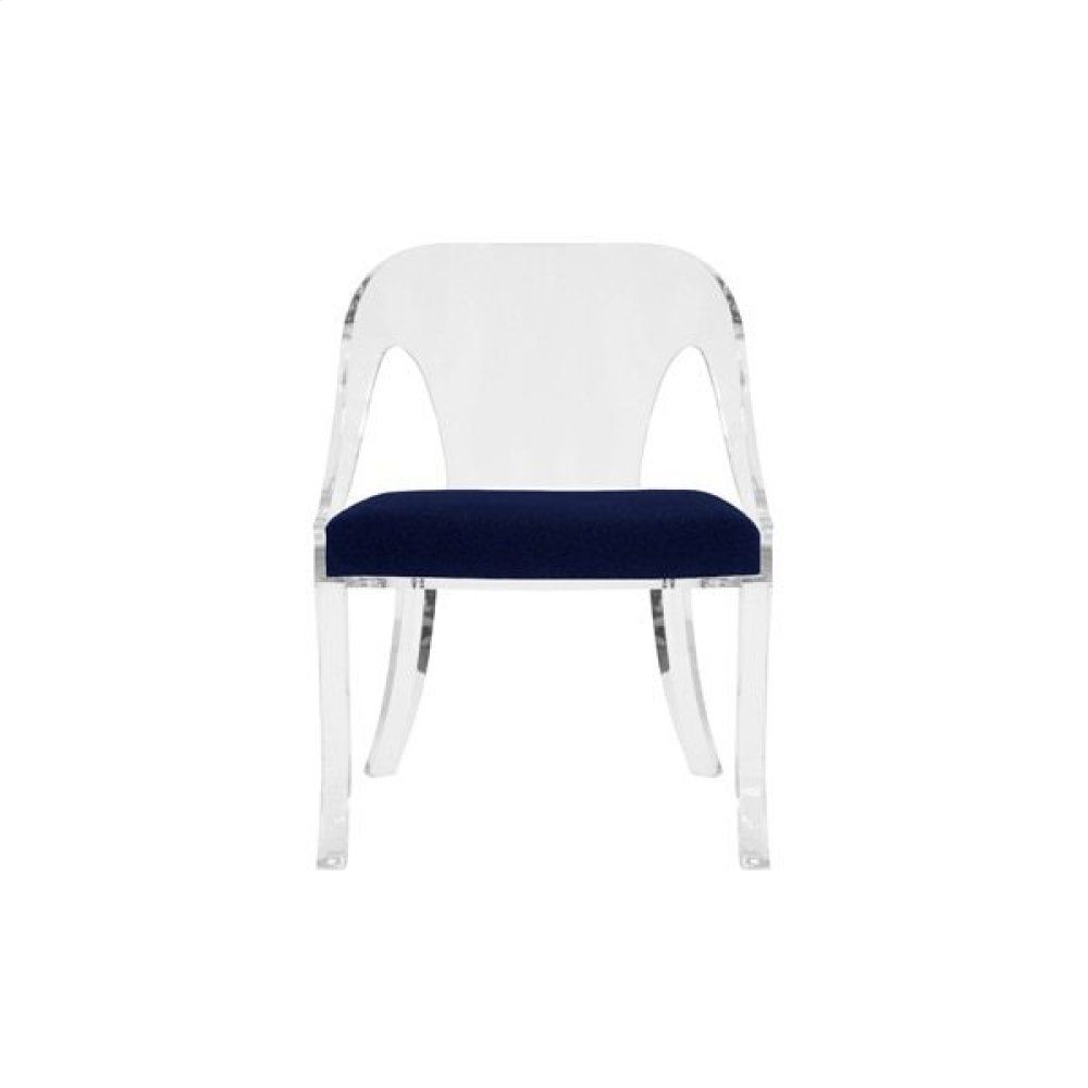 Round Back Acrylic Chair With Navy Velvet Cushion Seat Height: 17.5""