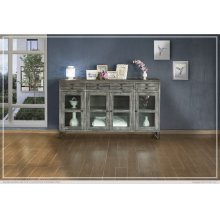 4 Drawer & 4 Glass Doors Console