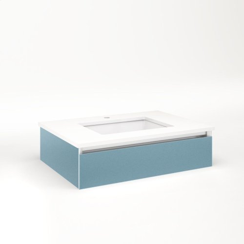 """Cartesian 30-1/8"""" X 7-1/2"""" X 21-3/4"""" Slim Drawer Vanity In Ocean With Slow-close Plumbing Drawer and No Night Light"""
