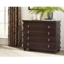 Exotic Walnut 4 Drawer Console