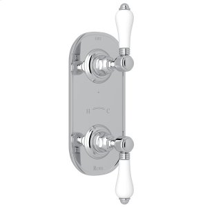 """Polished Chrome Italian Bath 1/2"""" Thermostatic/Diverter Control Trim with White Porcelain Lever Product Image"""