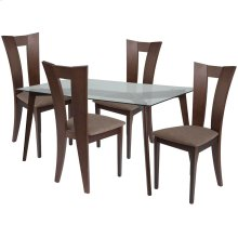 5 Piece Espresso Wood Dining Table Set with Glass Top and Slotted Back Wood Dining Chairs - Padded Seats