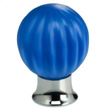 Cabinet Knob in Satin Azure Glass with US26 (Polished Chrome) Base