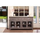 4 Drawer, 4 glass door console - Grey finish Product Image