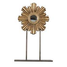 Small Gold Leaf Iron-wood Mini Mirror.