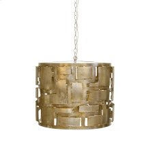 Brutalist Champagne Silver Leaf Pendant With 3 Light Candle Cluster