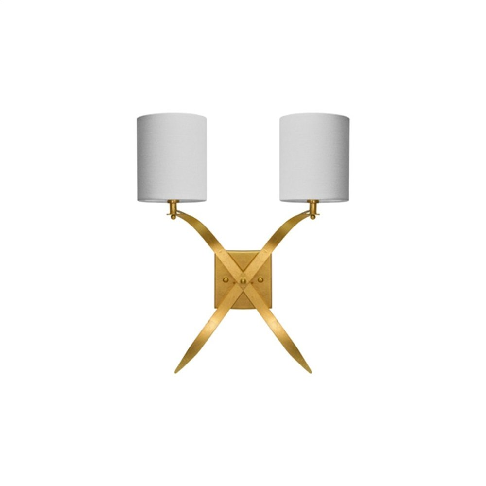 """Two Arm Sconce With White Linen Shade In Gold Leaf -uses Two E12 Base 40 Watt Candelabra Bulbs - Backplate 4.75"""" Dia X .75"""" D"""