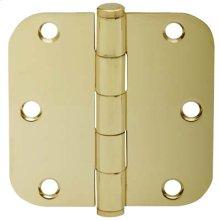 """Door Hardware  3.5"""" Round Hinge 5/8"""" Radius - Bright Brass"""