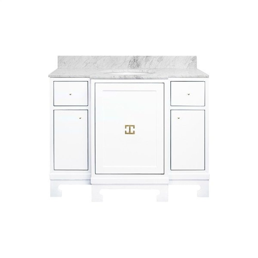 "Three Door- Two Drawer White Lacquer Bath Vanity With Gold Leaf Hardware and White Carrara Marble Top Features: - White Porcelain Sink Included - Optional White Carrara Marble Backsplash Included - for Use With 8"" Widespread Faucet (not Included)"