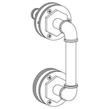 "Elan Vital 24"" Shower Door Pull With Knob / Glass Mount Towel Bar With Hook"