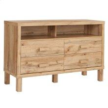 4 Drawer Dresser with Open Storage in Rustic Oak