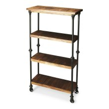 Crafted from iron finished in an epoxy gray and solid-wood planks, this unconventional Bookcase on wheels provides a compelling showcase for large books and tall decorative accessories.
