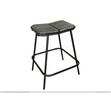 """24"""" Stool - with wooden seat & iron base"""