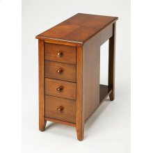 The perfect companion beside the sofa or next to your favorite easy chair, this stylish chairside chest was designed to fit into narrow spaces at just under 12 wide. Crafted from rubberwood solids and wood products, it boasts an inviting Olive Ash Burl fi