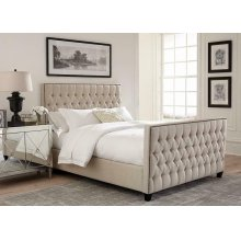 Saratoga Oatmeal Upholstered Twin Bed