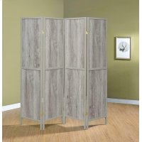 Rustic Grey Driftwood Four-panel Screen Product Image