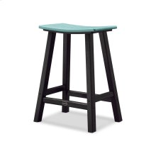 "Black & Aruba Contempo 24"" Saddle Bar Stool"