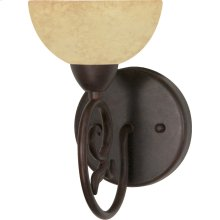 """1-Light 6"""" Old Bronze Wall Mounted Vanity Fixture with Tuscan Suede Glass"""