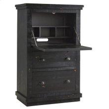 Armoire Desk - Distressed Black Finish