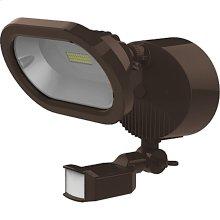 14W LED Single Head Security Light Fixture - Bronze Finish - Motion Sensor (120V Only)
