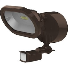 14W LED Single Head Security Light Fixture - Bronze Finish - Motion Sensor (120V Only)