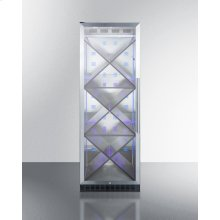 Full-size Commercially Listed Wine Cellar With Stainless Steel Interior, Diamond Style Shelving, Digital Controls, Self-closing Glass Door, and Black Cabinet