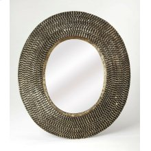 Change the look of your room with this versatile round wall mirror that will strategically help your room get an entirely new look. Made from Iron, MDF and mirrored glass, this attractive mirror has convincing durability. It has distressed textured decora