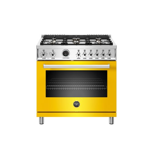 36 inch Dual Fuel Range, 6 Brass Burner, Electric Self-Clean Oven Giallo