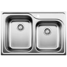Blanco Supreme 1-3/4 Bowl Drop-in (bowl Depth 10'' & 8'') - Satin Polished Finish