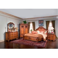 Marquette Park captures Classic Country French styling enhanced by a sophisticated Cognac finish. This entire collection is crafted from solid poplar and rogue cherry veneers.