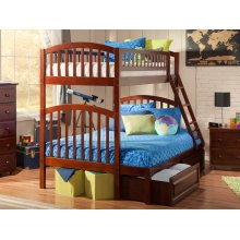 Richland Bunk Bed Twin over Full with Raised Panel Bed Drawers in Walnut