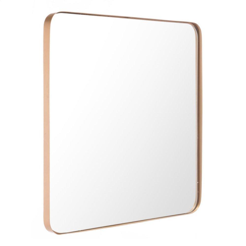 Square Metal Gold Mirror