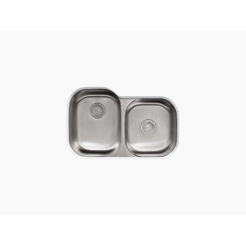 "31"" X 20-1/8"" X 9-1/2"" Under-mount Large/medium Double-bowl Kitchen Sink"