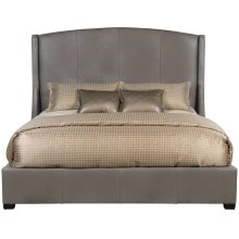 """Queen-Sized Cooper Leather Wing Bed (64"""" H) in Espresso"""