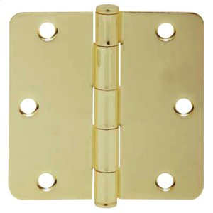 """Door Hardware  3.5"""" Round Hinge 1/4"""" Radius - Bright Brass Product Image"""