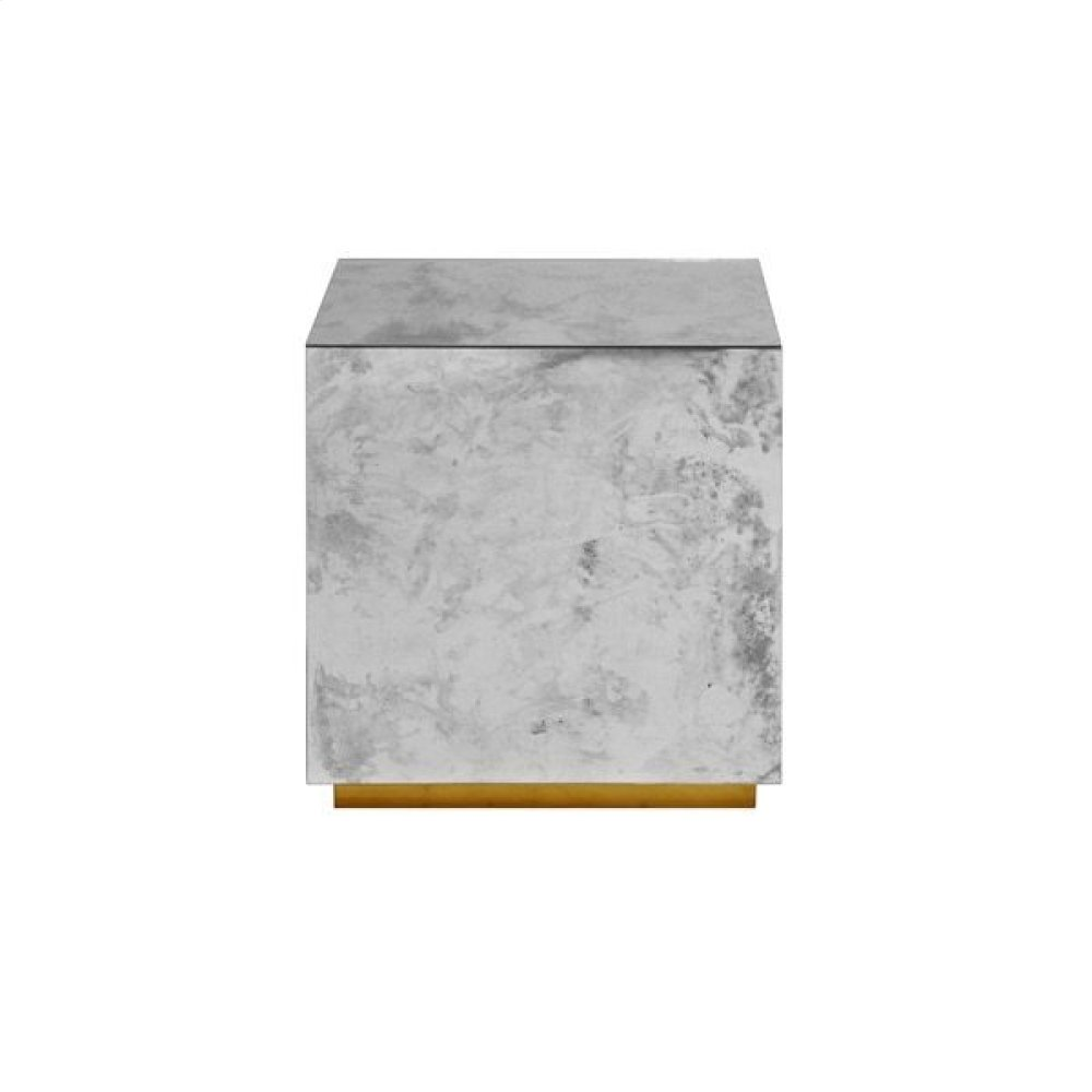 Antique Mirror Cocktail Cube With Gold Leaf Base.