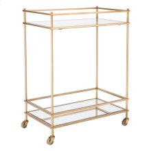 Mirrored Gold Bar Cart Gold