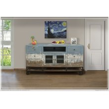 6 Drawer, 2 Door, TV Stand Blue Finish