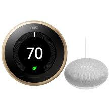 Thermostat Brass With Google Mini White