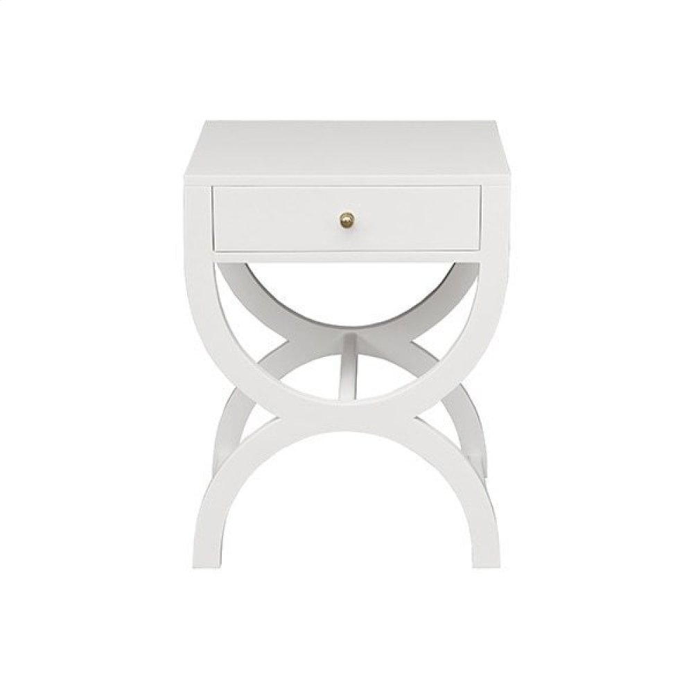 One Drawer Side Table In Matte White Lacquer
