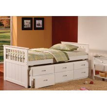 Bennett White Twin Bed with Trundle & 3 Storage Drawers