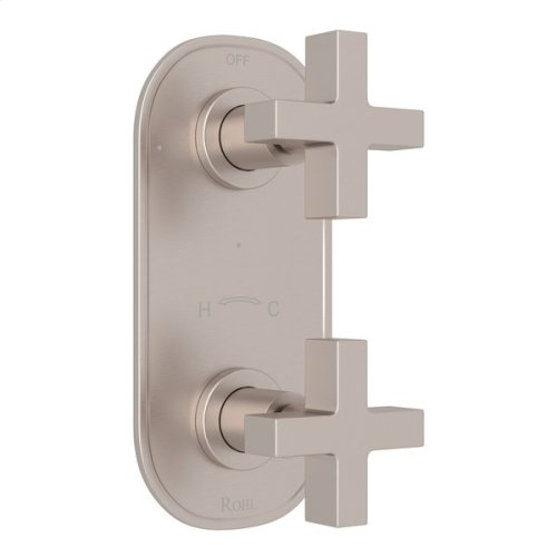 "Satin Nickel Pirellone 1/2"" Thermostatic/Diverter Control Trim with Cross Handle"