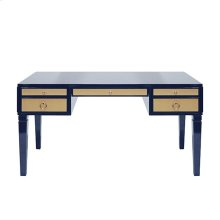 Navy Matte Lacquer Desk With Grasscloth Drawer With Nickel Hardware