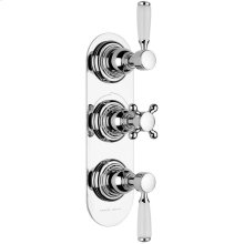 Non Lacquered Brass Trim set for V135-AIS thermostatic valve - 2 separate volume controls
