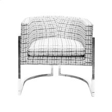 Nickel Frame Barrel Chair In P04/grid