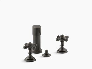 Oil-rubbed Bronze Widespread Bidet Faucet With Cross Handles Product Image