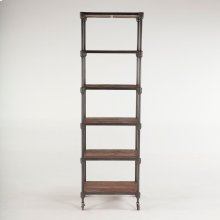 "Industrial Teak Bookshelf Wheeled 80"""