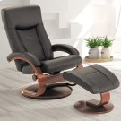 Hamar Recliner and Ottoman in Black Top Grain Leather Product Image