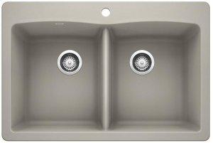 Blanco Diamond Equal Double Bowl With Ledge - Concrete Gray Product Image