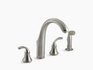 "Vibrant Brushed Nickel 4-hole Kitchen Sink Faucet With 7-3/4"" Spout, Matching Finish Sidespray Product Image"